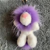 Mink wool Simba lion bag pendant mink real fur doll luxury keychain, Fur key buckle
