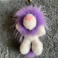 Mink wool Simba lion bag pendant mink Mao Mao hanging jewelry real fur pendant plush doll luxury keychain