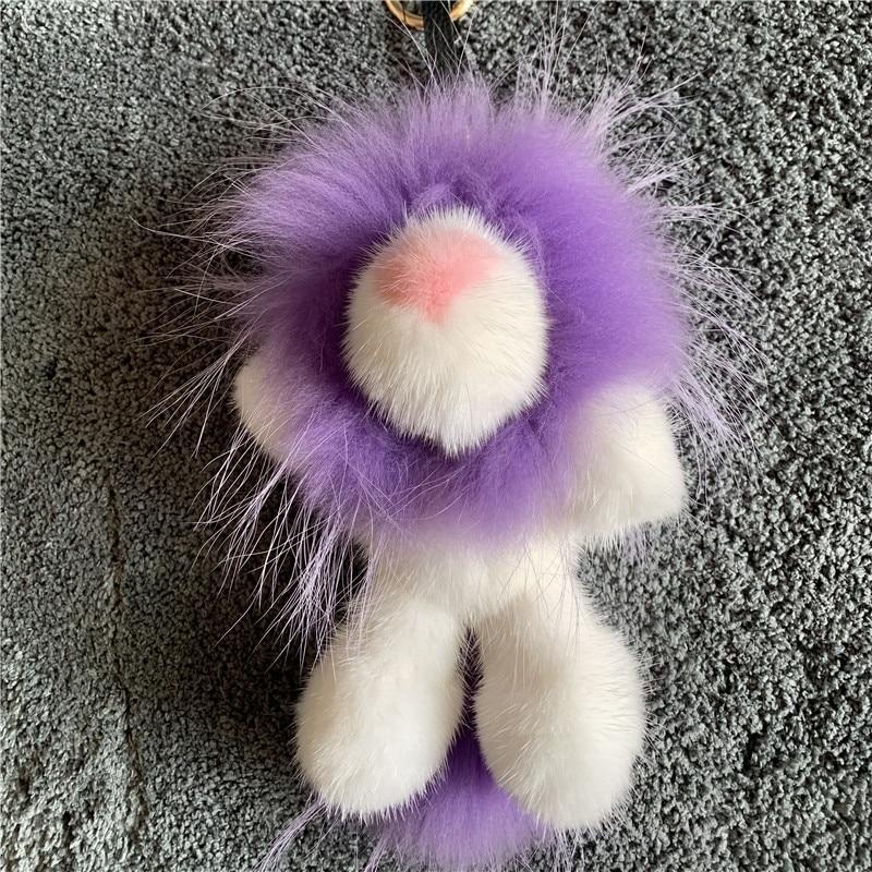 Vison laine Simba lion sac pendentif vison vraie fourrure poupée luxe porte-clés, fourrure clé boucle