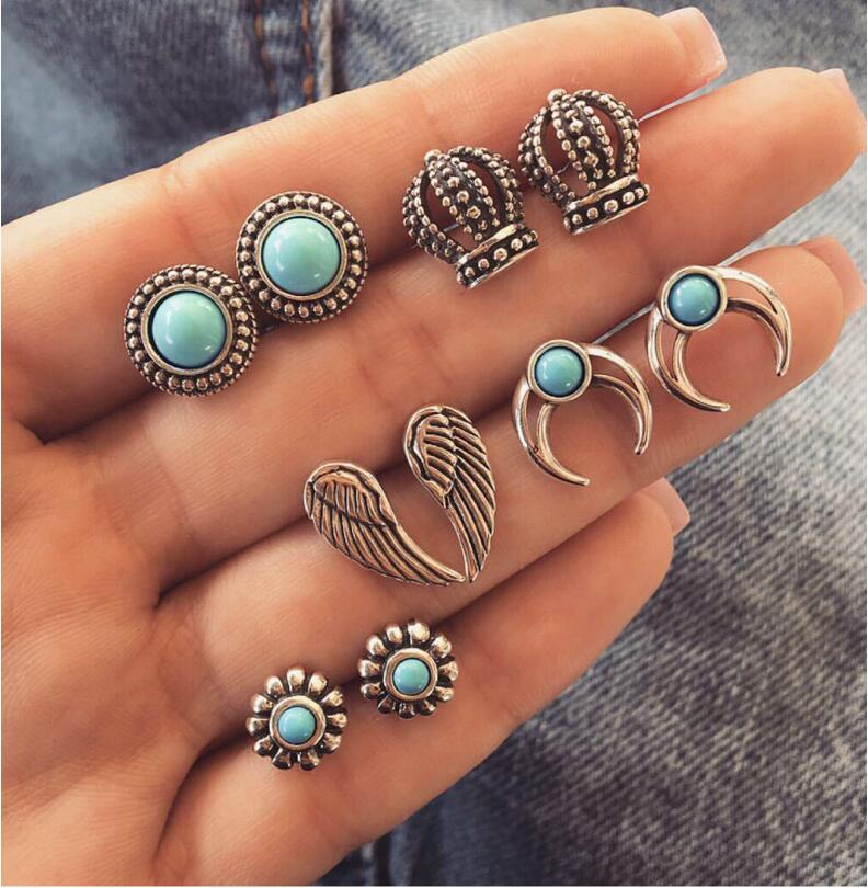 5pairs/set Vintage Crystal wing Earrings For Women Stone Beads Ear Cuff Piercing Ears Clips Steampunk Love Party Jewelry Пирсинг ушей