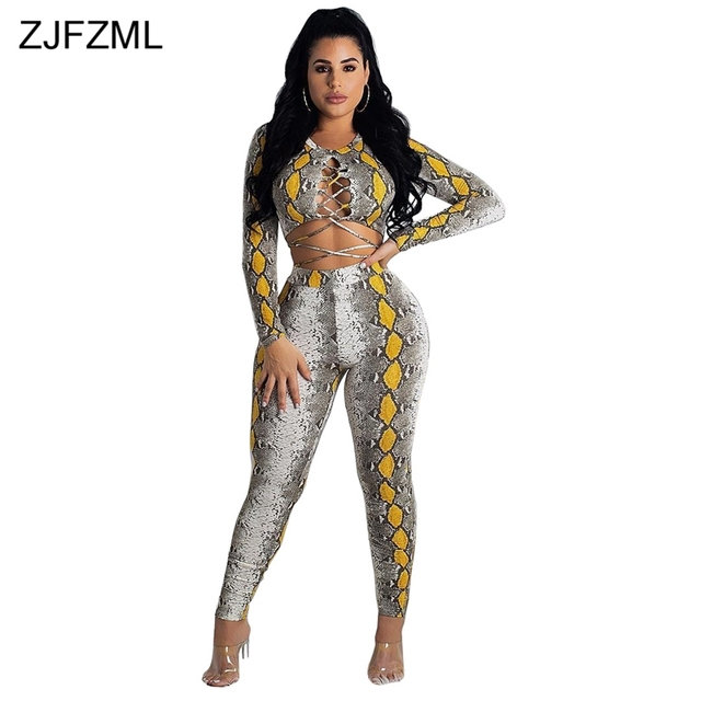 ZJFZML Snake Skin Print Sexy Two Piece Outfit Women Lace Up Long Sleeve  Crop Top+Bodycon Pant Casual Tracksuit Autumn 2 Pcs Set 91bcacaec