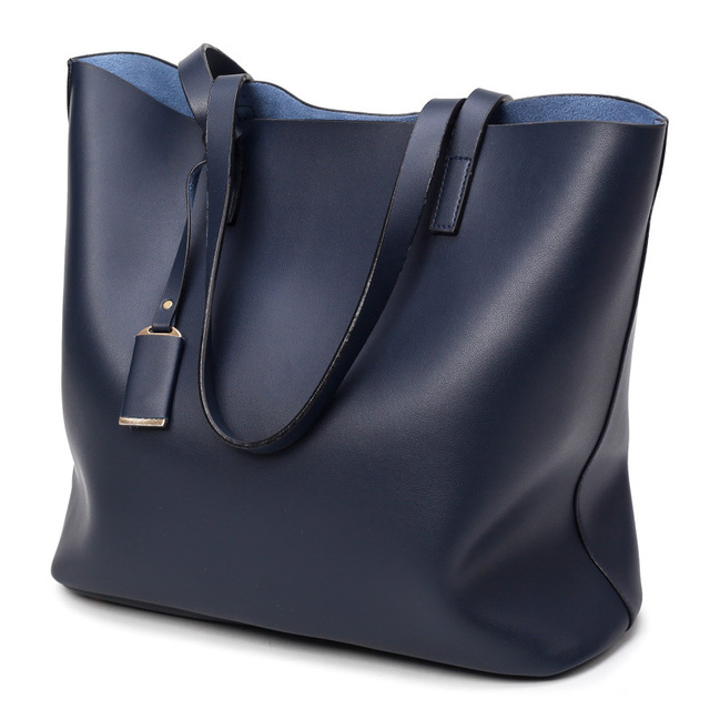 Light Pu Leather Women Handbags Female Simple Soft Tote Bag Large Capacity Shoulder Bags Black Blue