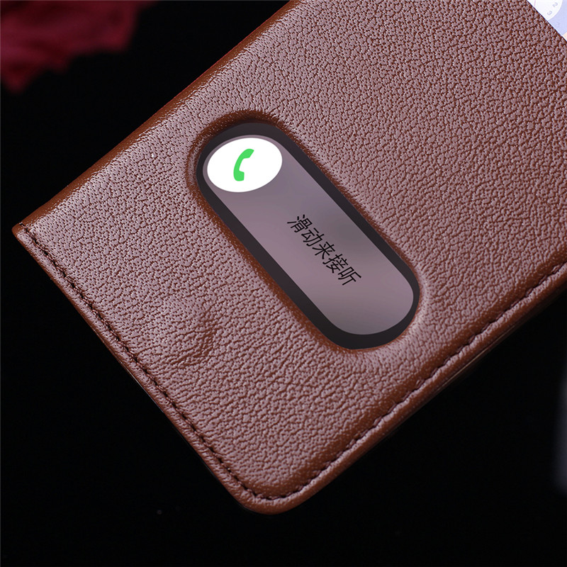 Hot SellingCYBORIS for iphone7Case Genuine LeatherCase for iphone7plus Real Cow LeatherClassical Pattern Window Stand Flip Cover
