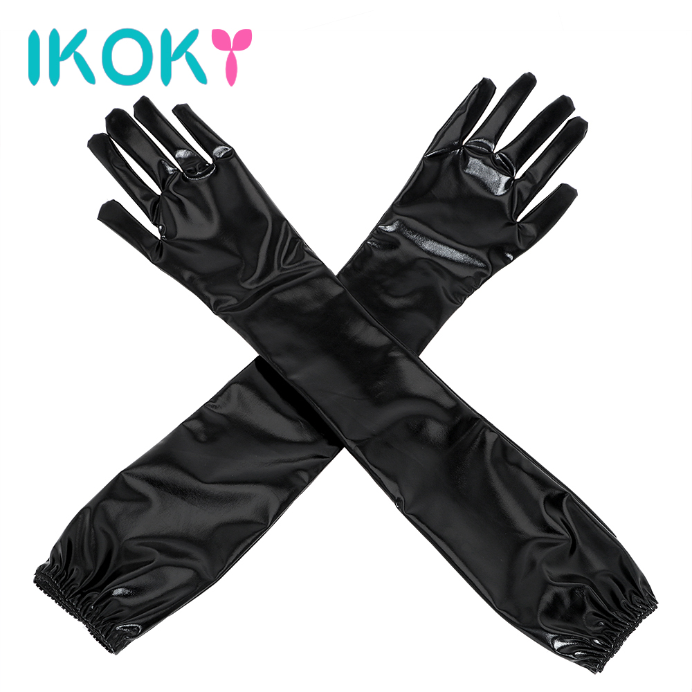 IKOKY SM Bondage Fetish Cosplay Sex Glove Adult Games Long Black Sexy Arm Sleeve Sex Toys for Couple Erotic Toys Adult Porduct
