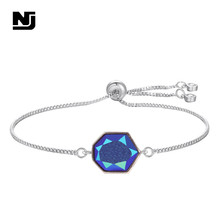 NJ Colorful Geometric Women Charm Bracelets & Bangles Silver Gold Adjustable Chain Link Black White Jewelry