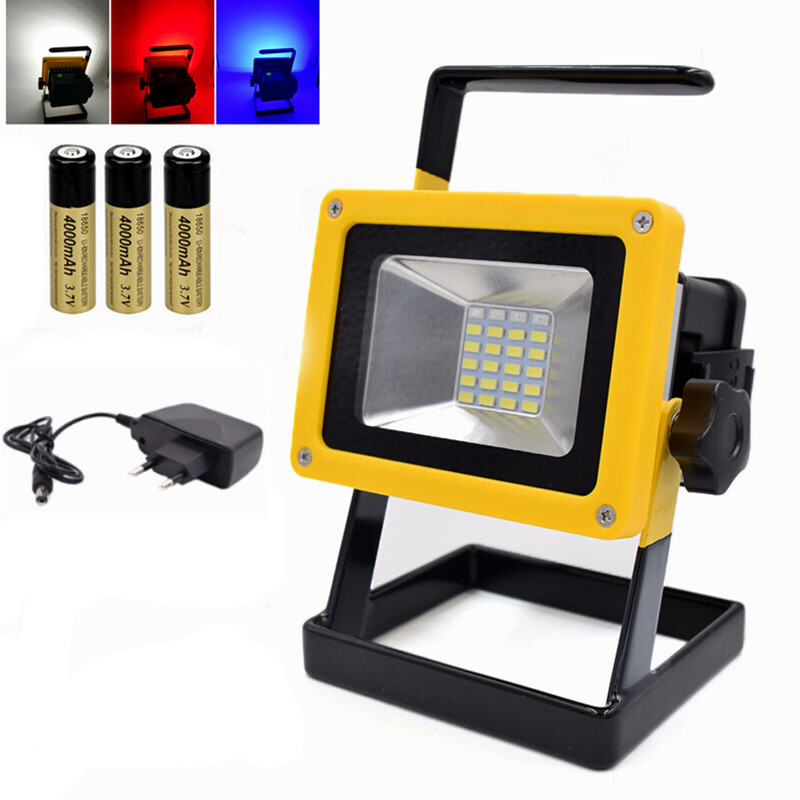 Portable 24 LED Floodlight 10W Rechargeable Work Flood Light Camping Lamp Waterproof for Outdoor Lighting with battery charger
