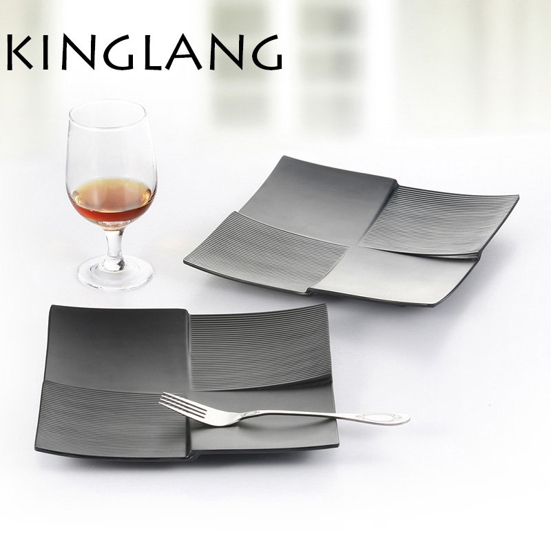 two sizes black square western restaurant dinner plate. Black Bedroom Furniture Sets. Home Design Ideas