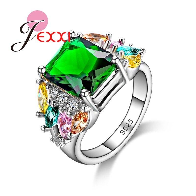 JEXXI Unique Green Cubic Zircon font b Crystal b font 925 Sterling silver Women Rings Wedding