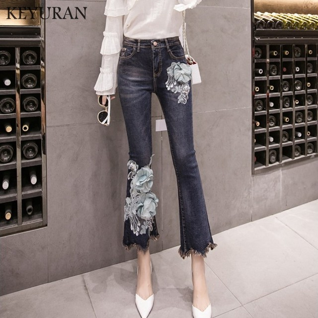 3831abb0f25 New Girls Beaded Embroidery Stretching Tassel Flare Jeans skinny Women s  Stretching Bell-Bottoms Jeans for