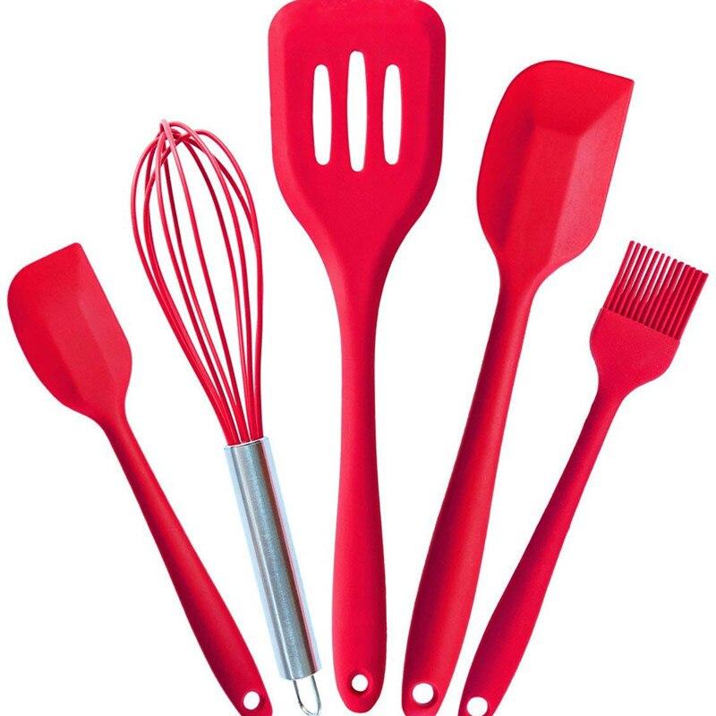 Fda утвержденных силиконовые Пособия по кулинарии Инструменты силиконовые Кухня Посуда комплект (5 шт.) в гигиеническом твердого покрытия
