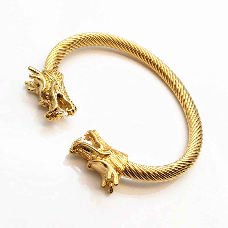 Elastic Adjustable Mens Dragon Bracelet Steel Twisted Cable Cuff Bangle Silver Gold-Color Polished Biker Jewelry