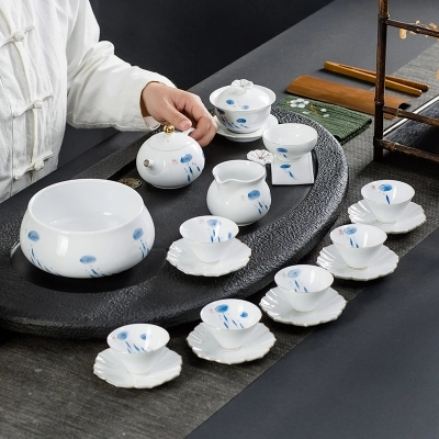 Kung Fu Tea Set Modern Minimalist Home Hand-painted Ceramics Gaiwan Teacup Black Tea Ceremony Traditional Chinese Teaware