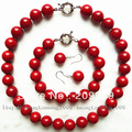 Huij 001667 Charming! 10mm Mar Rojo Shell Collar de Perlas Pulsera Pendiente 1 Unidades 5.2