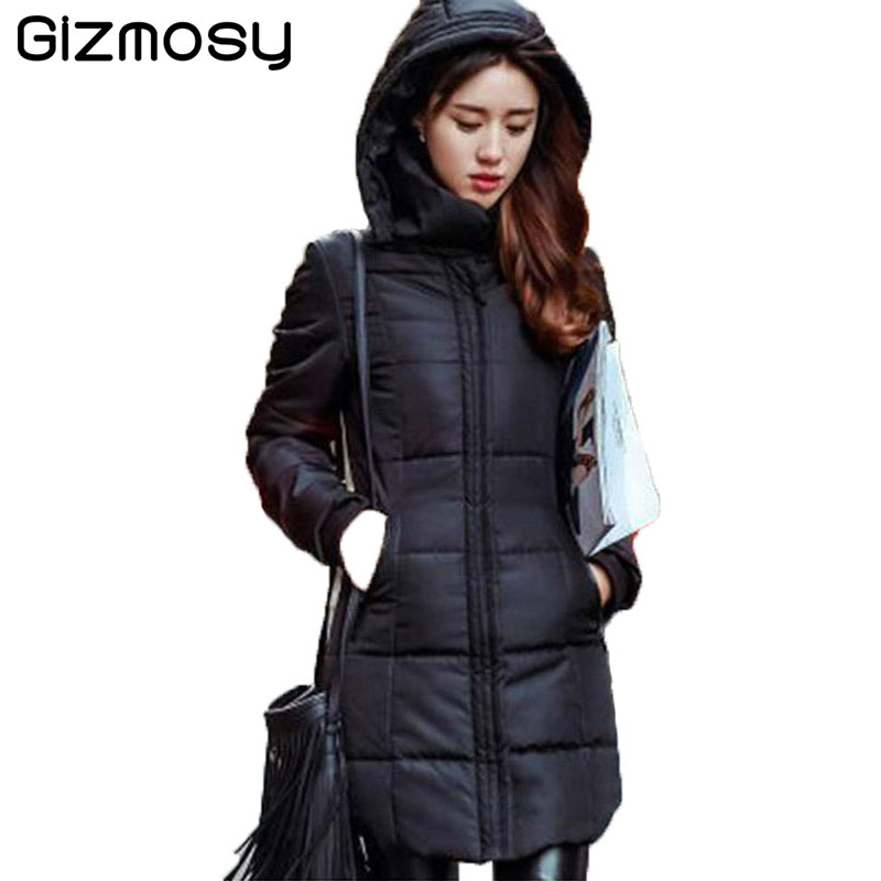 New Long Jacket Women Winter Slim Solid Coat Female Down Cotton Clothing Thicken Parka Red Hooded Jackets Casual Outwear SY280-1 hooded collar korean new 2014 winter clothing full sleeve solid down jacket slim women casual cotton padded coat ly1066