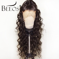 BC Curly 360 Lace Front Human Hair Wigs For Women Black Color Brazilian Remy Lace Wig Frontal Pre Plucked Bleached Knots