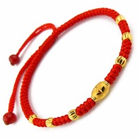 Pure 999 24k Yellow Gold Craved Bless Lucky Beads Red Knitted Chain Bracelet