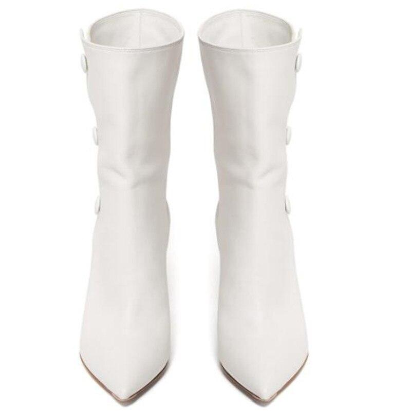 La Chaussures Taille Bota Mujer Courtes Marque Femmes Bottes Cheville Blanc Plus Pointu Bouton Botas Pic As Pompes Feminina Dames Bout Y1Swdqw