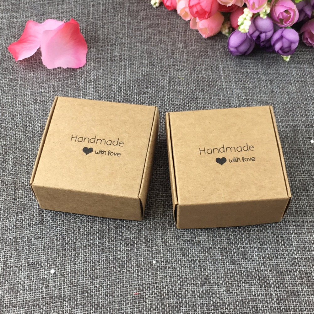 50pcs 6 5x6 5x3cm Kraft Fashion Printing Handmade With Love Gift Bo Paper Jewelry Display Case Accept Custom Logo In Packaging