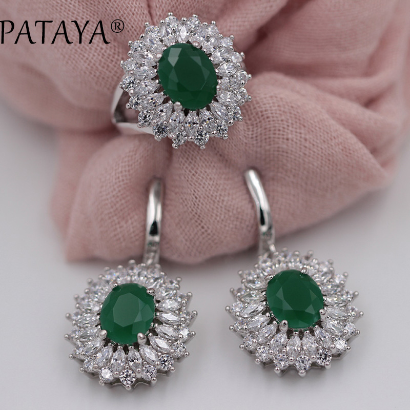 PATAYA New Women Luxury Wedding Jewelry Green Natural Zirconia Big Earrings Ring Sets True White Gold Party Multicolor Jewelry hama hama h 115936 черный