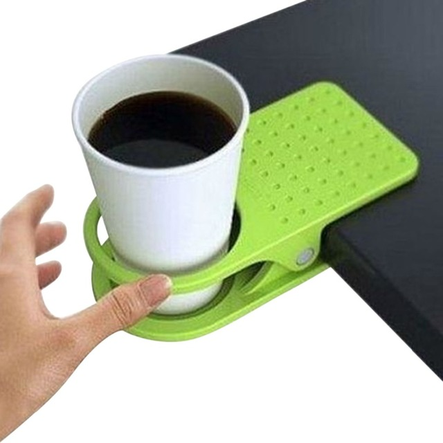 Office Table Desk Drink Coffee Cup Holder Clip Drinklip Stand Mug Rest Mat