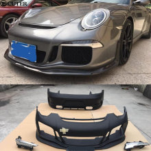 911 997 change to 991 GT3 Style Car body kit front bumper lip rear diffuser spoiler for Porsche 05-12
