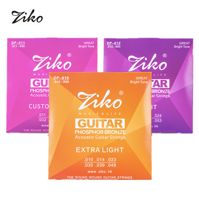 ZIKO Acoustic Guitar Strings Set Phosphor Bronze Wound.Steel String (010 & 011 & 012 for Choose) wholesale 2011 years chinese yunnan pu er cake 357g piece ripe fermented puerh tea old comrades red impressions cooked puer tea
