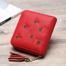 2019 Brand Embroidered Cherry Women Coin Purse Mini Small Clutch Card Holder Short Cute porte monnaie Simple Fashion Coin Wallet