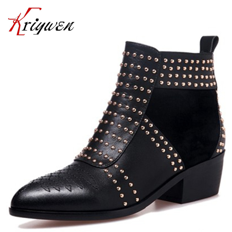 2015 New women martin Boots Pointed Toe Zipper genuine leather western boots rivets punk Solid Elegant Woman lady Ankle Boot vinlle women boot square low heel pu leather rivets zipper solid ankle boots western style round lady motorcycle boot size 34 43
