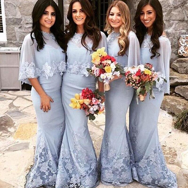 Bleu 2019 pas cher robes de demoiselle d'honneur sirène Appliques dentelle longue mariage invités robes de fête robe demoiselle d'honneur