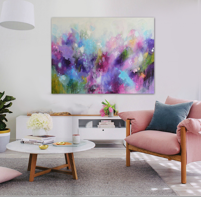 Fantasy Purple Watercolor Modern Abstract Hand Painted Oil Painting Canvas  Art Wall Bedroom Decoration Big Painting