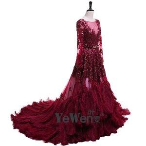 Image 2 - יען נוצות Burgudy זהב ארוך שרוולים V צוואר נצנצים כלה שמלות הערב 2020 Vestidos דה Novia