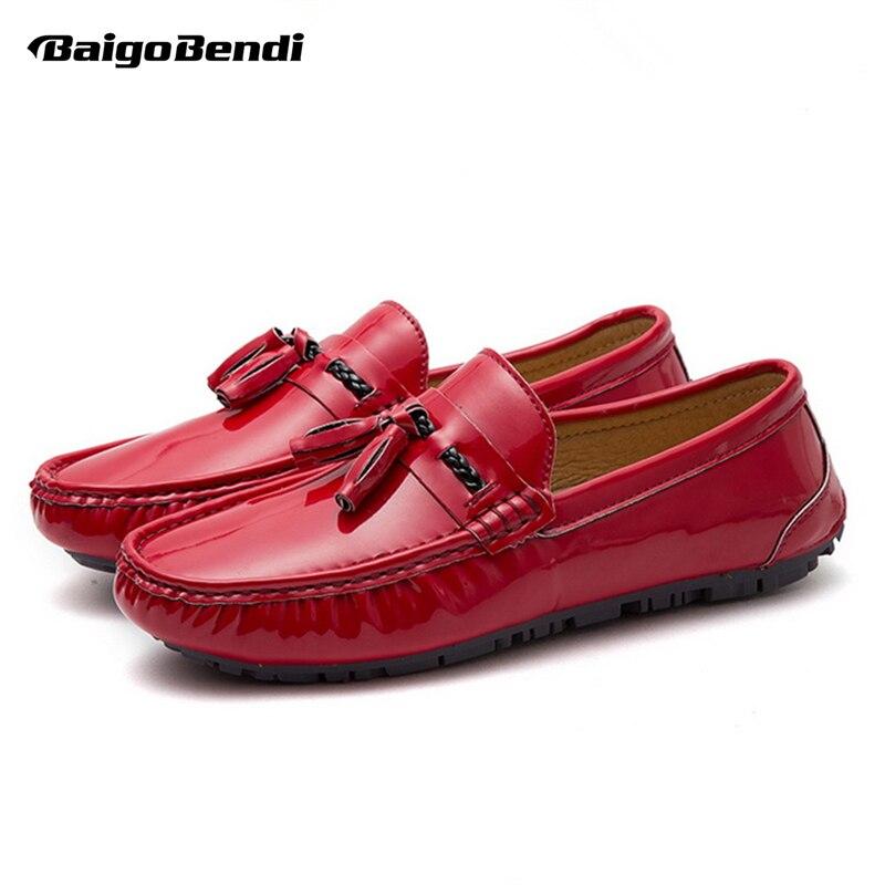 US6-10 Mens 0N SLIP Mocasines de Borla Casual Invierno Cálido Felpa Hombres Mocasín Zapatos Del Barco Zapatos de Conducción