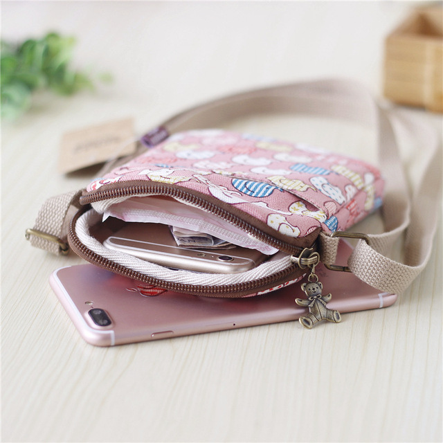 Print Women Small Sling Bags Canvas Female Shoulder Bag Fashion Mini Flap Crossboby Bag For Girl 5