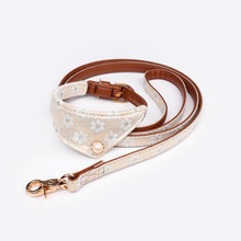 Pet Dog Collar Leashes Scarf Flower Cloth Leather Goods Fabric Art For Medium Small Supplies Cat