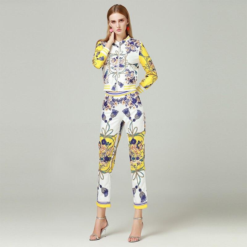 Ensembles Cheville Courtes Complet longueur Manches Costumes Impression Automne Qualité D'impression À Pantalons Femelle 2 Haute 2018 Mode Vestes De Mince Pièces Femmes TaqBY6n