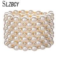 SLZBCY declaración ancha Pulseras y brazaletes de cuentas para mujer diamantes de imitación perla ajustable pulsera brazalete Pulseras joyas de boda