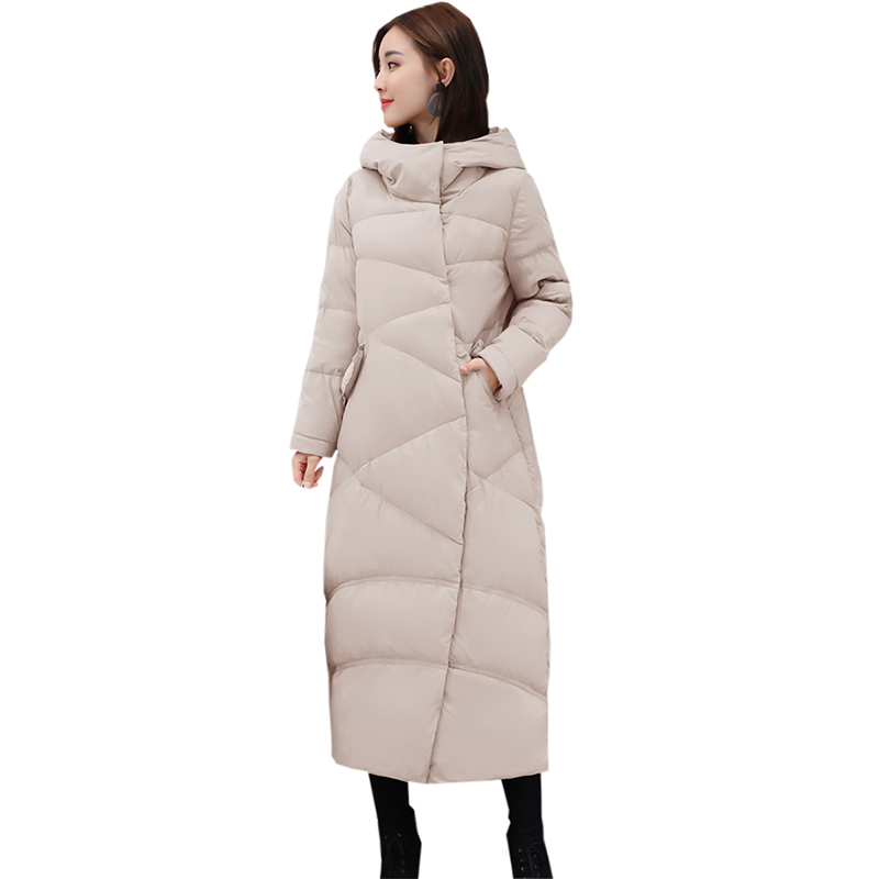 White Duck   Down     Coats   Women Long Thicken Hooded   Down   Jackets Autumn Winter Female Black Gray Loose   Down     Coat   Outwears YP2003