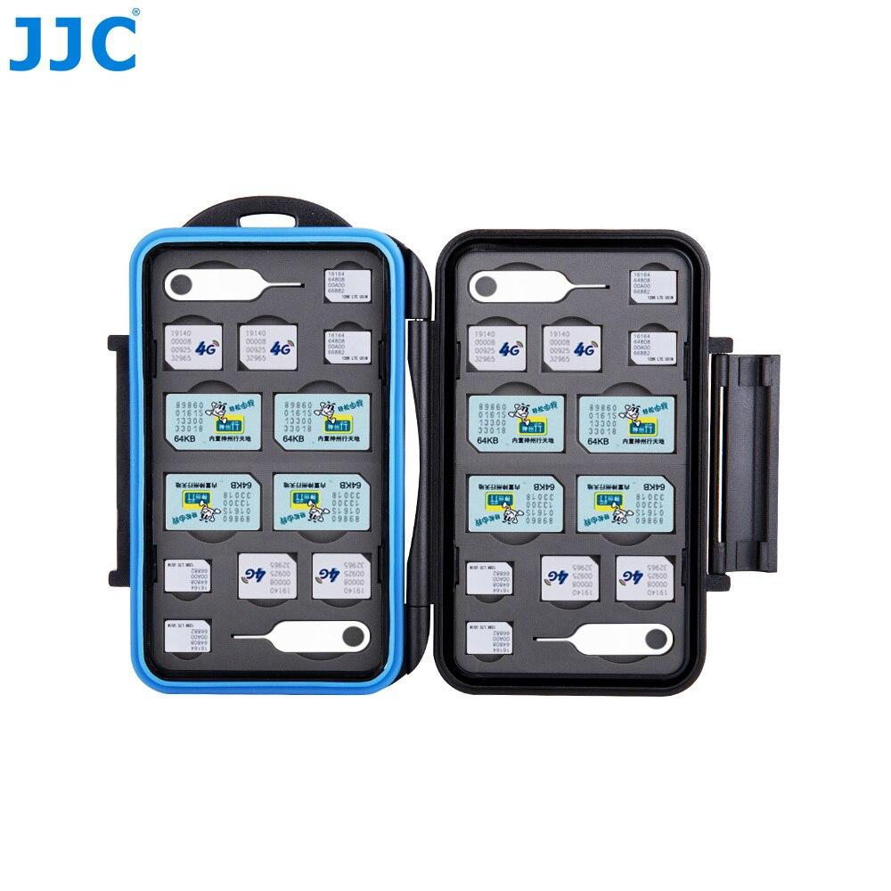 JJC Water-Resistant dslr Digital Photo Camera Memory Card Case 8 SIM + 8 Micro SIM + 8 Nano SIM Compact Tough Storage Box Cover