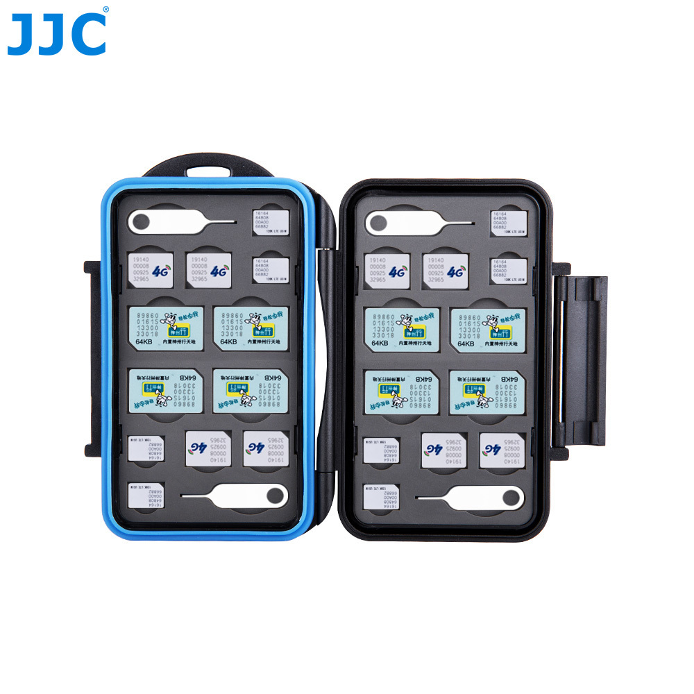 JJC resistente al agua dslr cámara de fotos Digital tarjeta de memoria 8 SIM + 8 Micro SIM + 8 Nano SIM compacto resistente cubierta de la caja de almacenamiento
