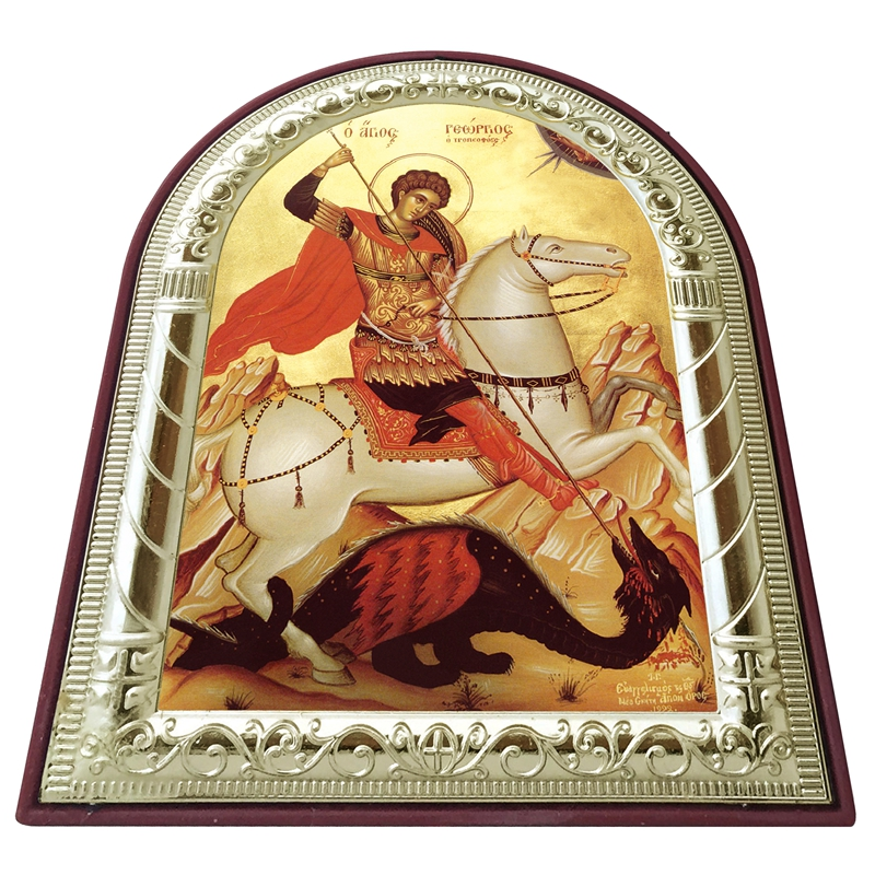Russian orthodox icon saint George images plated silver metal gold on - Home Decor - Photo 3