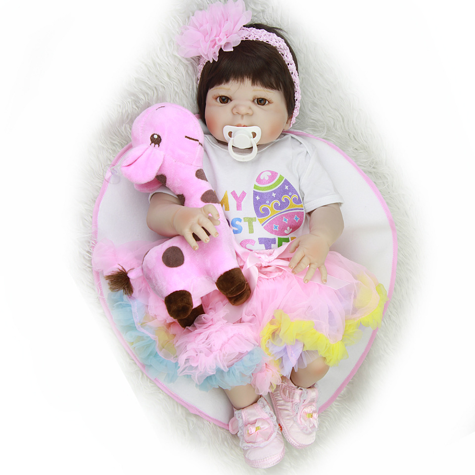Full vinyl silicone dolls reborn Bebe alive 57cm bebes reborn corpo de silicone inteiro boneca child