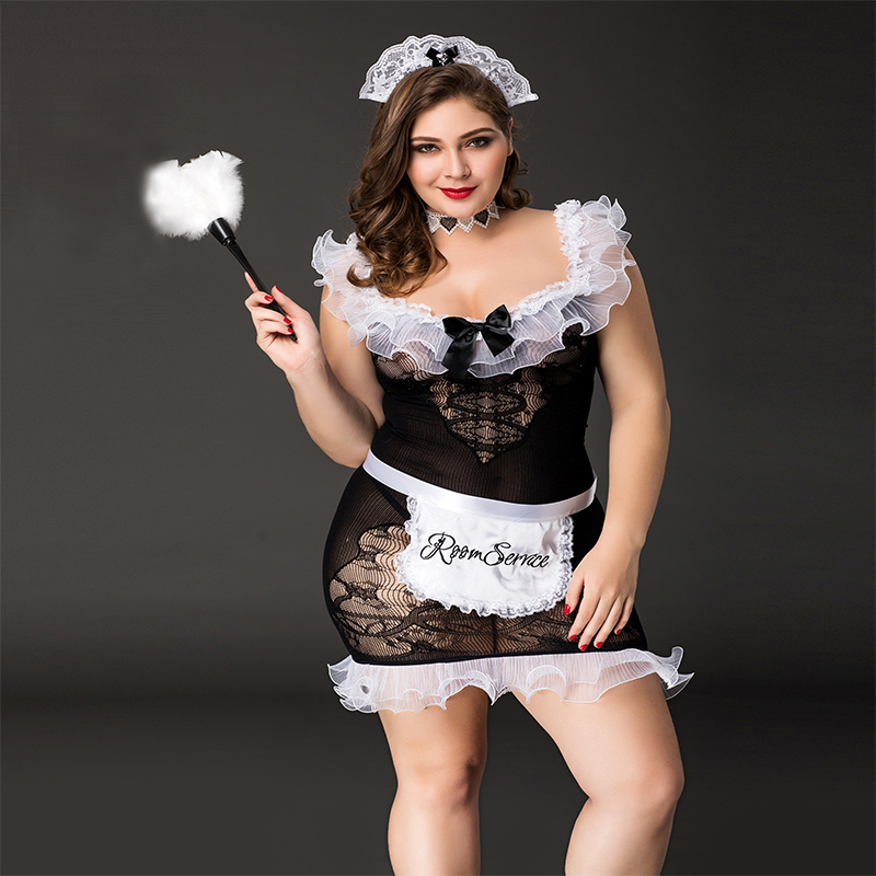 Large Size Sexy Maid Costume Porno Women Role Play Dress For Sex Nylon Lace Nightwear Hot Erotic Underwear