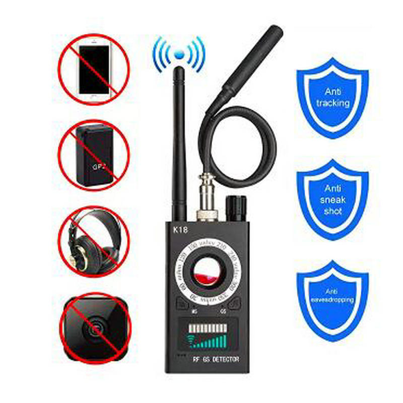Hot sale K18 Multi-function Anti-spy Detector Camera GSM Audio Bug Finder GPS Signal Lens RF Tracker Detect Wireless Products 1 pcs full range multi function detectable rf lens detector wireless camera gps spy bug rf signal gsm device finder