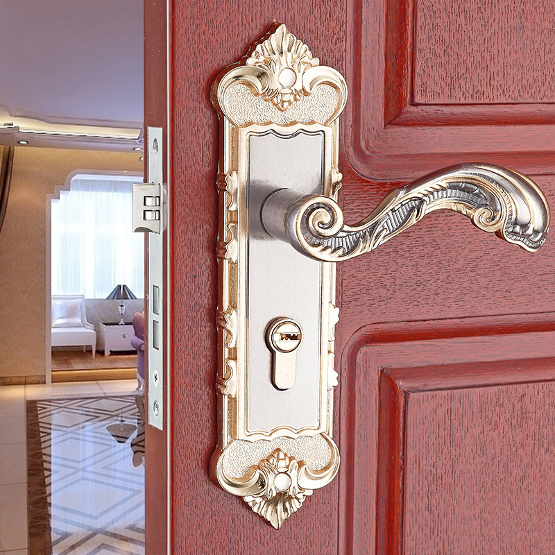 European retro aluminum silver white indoor Door handle bedroom door lock solid wood door door mechanical lockEuropean retro aluminum silver white indoor Door handle bedroom door lock solid wood door door mechanical lock