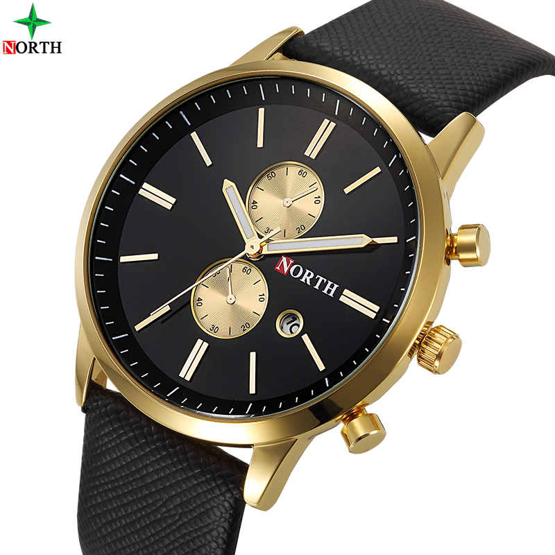 NORTH Fashion Mens Watches Top Brand Luxury Watch Men Gold Leather Analog Display Date Men S