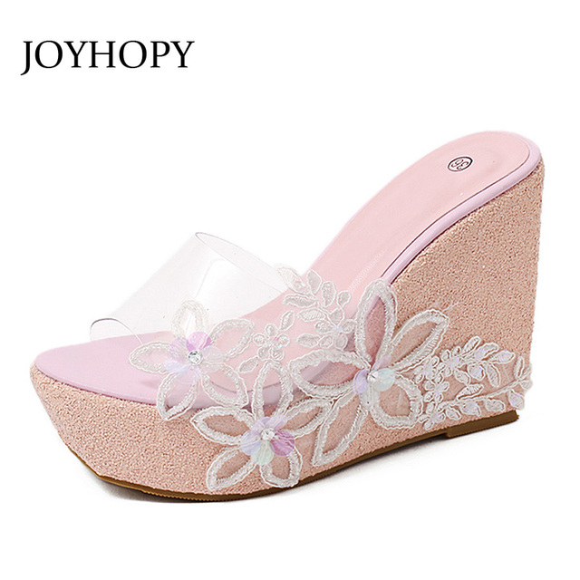 c9bbd6c5665d0e JOYHOPY Summer Transparent Platform Wedges Sandals Women Slippers PVC  Crystal Jelly Shoes Beach Woman High Heels Slides WS1639