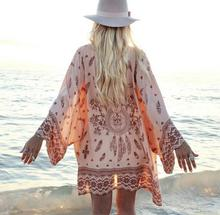 Women Chiffon Shirt Blouse Lantern Sleeve Large Size Beach Tunic Women's Blouses Sunscreen Tops Print Blusas Feminina Verao