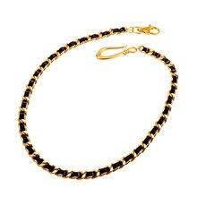 ed1c20717c2a Collare hip-hop pantalones cadenas oro color negro de cuero genuino correa  de cintura