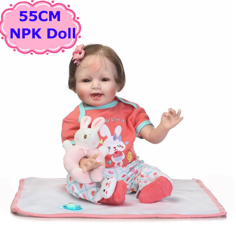 22 Realistic NPK Soft Silicone Reborn Baby Doll Sweet Smilling Alive Bebe Menina Toys In Cute Clothes For Child Birthday Gift