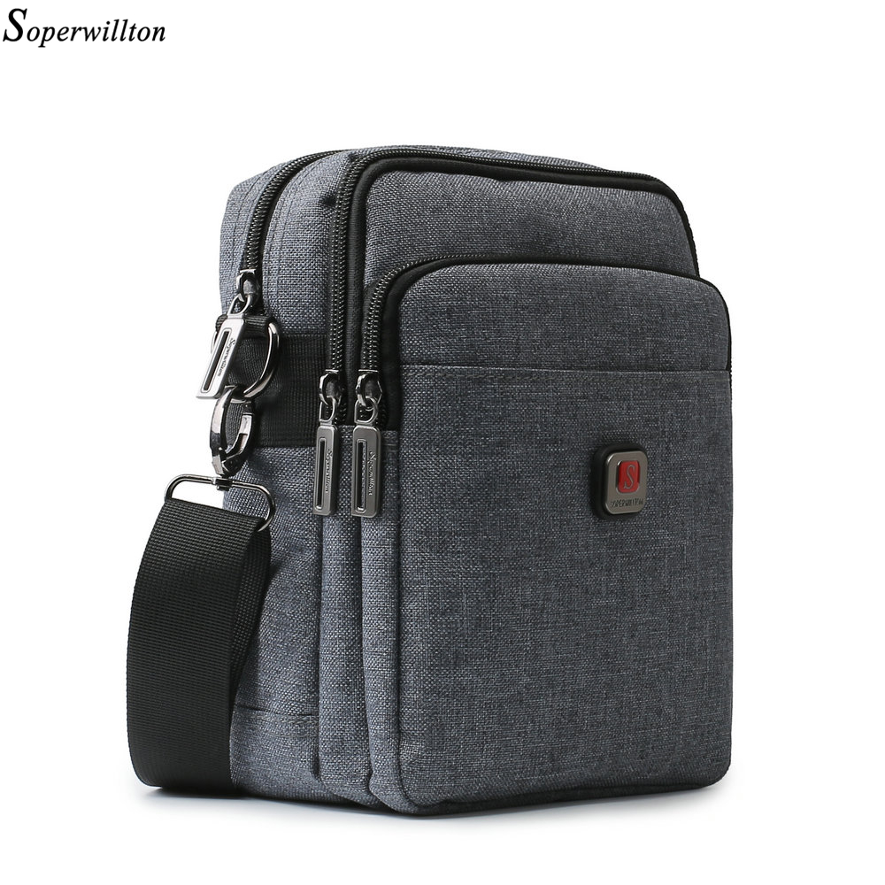 Soperwillton Men's Bag USB Port Shoulder Crossbody Bags Water-resistent Oxford Travel Bags Zipper Belt Bag Male #1042